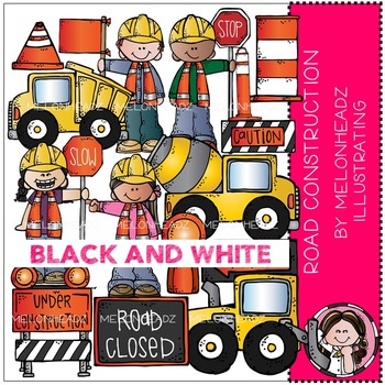 Road Construction clip art - BLACK AND WHITE - by Melonheadz
