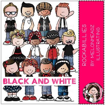 Melonheadz: Rockabillies clip art - BLACK AND WHITE