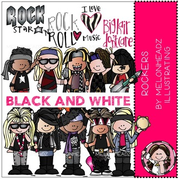 Rockers clip art - Rock Star - BLACK AND WHITE - by Melonheadz