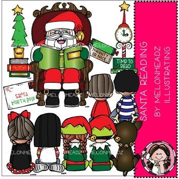 Melonheadz: Santa Reading clip art