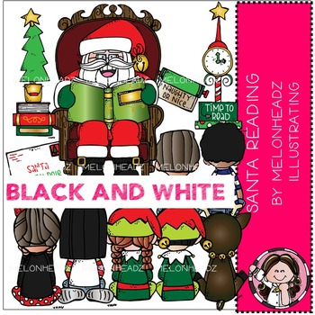 Melonheadz: Santa Reading clip art - BLACK AND WHITE