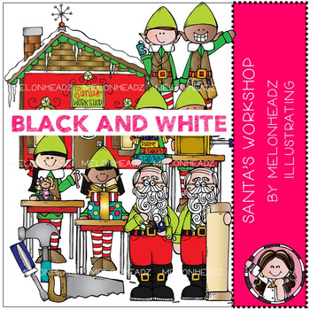 Melonheadz: Santa's Workshop clip art - BLACK AND WHITE