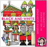 Santa's Workshop clip art - BLACK AND WHITE - by Melonheadz