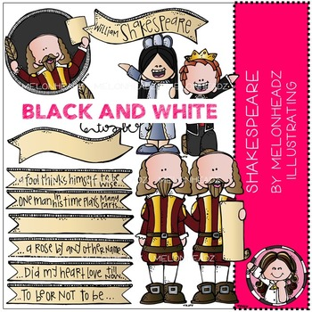 Shakespeare clip art - BLACK AND WHITE - by Melonheadz