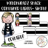 Melonheadz Simple Snack Container Labels - Editable