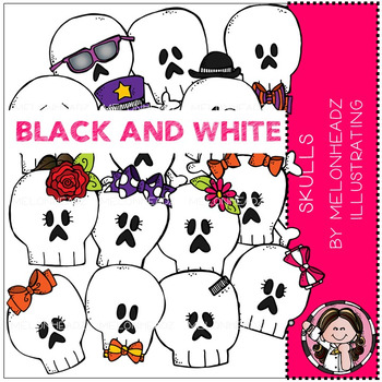 Skulls clip art - BLACK AND WHITE - by Melonheadz