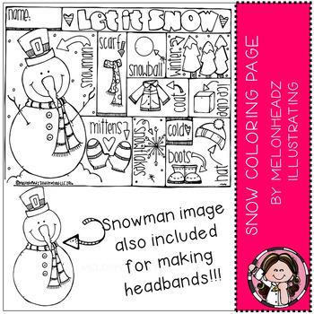 Snow Coloring Page Freebie - by Melonheadz