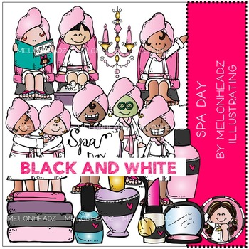 Spa Day clip art - BLACK AND WHITE - by Melonheadz