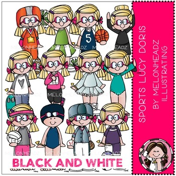 Sports clip art - Lucy Doris - BLACK AND WHITE - by Melonheadz