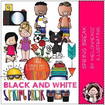 Melonheadz: Spring Break clip art - BLACK AND WHITE