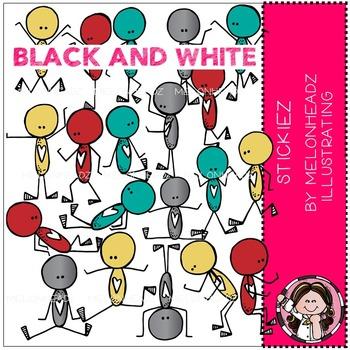 Stickiez clip art - BLACK AND WHITE - by Melonheadz