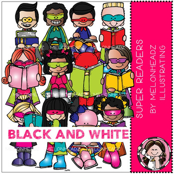 Super Readers clip art - BLACK AND WHITE - by Melonheadz