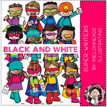 Super Writers clip art - BLACK AND WHITE - by Melonheadz