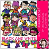 Superhero clip art - Kids - BLACK AND WHITE - by Melonheadz