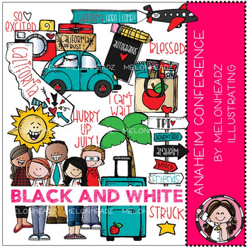 TPT Anaheim Conference clip art - BLACK AND WHITE - by Melonheadz