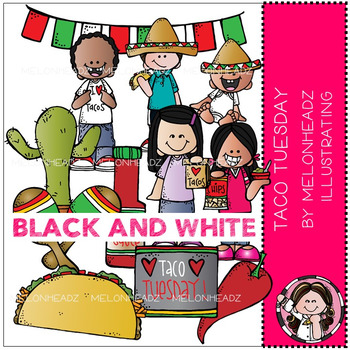 Taco Tuesday clip art - BLACK AND WHITE - by Melonheadz