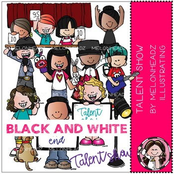 Talent Show clip art - BLACK AND WHITE - by Melonheadz