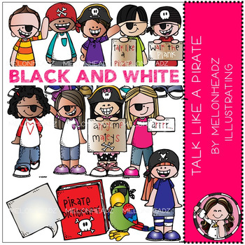 Talk like a Pirate clip art - BLACK AND WHITE - by Melonheadz