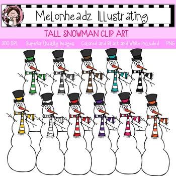 Tall Snowman clip art - Single Image - by Melonheadz