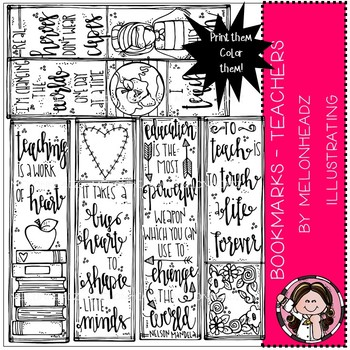 Teacher Bookmarks clip art - Printable - by Melonheadz