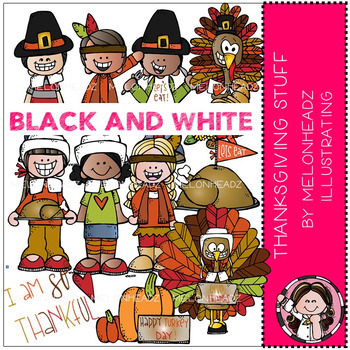 Melonheadz: Thanksgiving Stuff clip art - BLACK AND WHITE