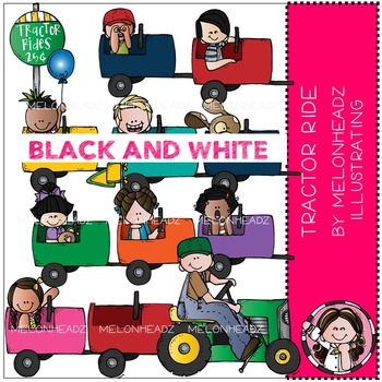 Tractor Ride clip art - BLACK AND WHITE - by Melonheadz