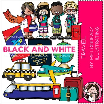 Melonheadz: Travel clip art - BLACK AND WHITE
