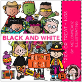 Trick or Treat clip art - Kids - BLACK AND WHITE - by Melonheadz