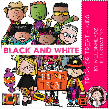 Melonheadz: Trick or Treat clip art - Kids - BLACK AND WHITE