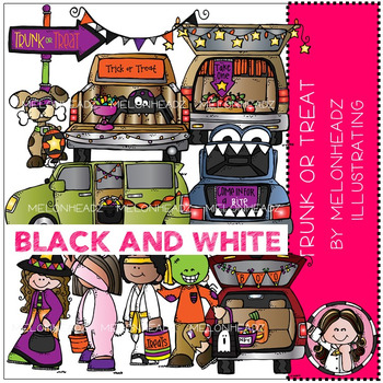 Melonheadz: Trunk or Treat clip art - BLACK AND WHITE