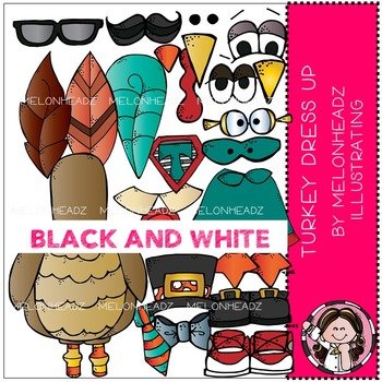 Turkey Dress Up clip art - BLACK AND WHITE - by Melonheadz