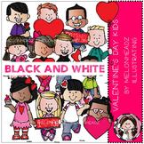 Valentine's Day clip art - Kids - BLACK AND WHITE - by Melonheadz