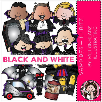 Melonheadz: Vampires clip art - Lil Bitz - BLACK AND WHITE
