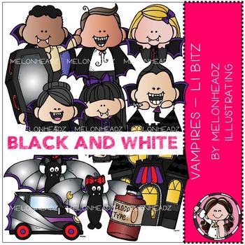 Melonheadz: Vampires clip art - Lil Bitz - BLACK AND WHITE