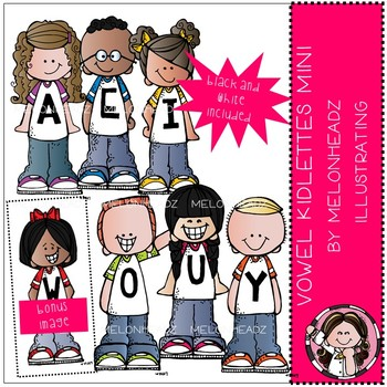 Vowel Kidlettes clip art - Mini - by Melonheadz