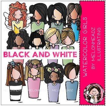 Melonheadz: Watercolor Girls clip art BLACK AND WHITE