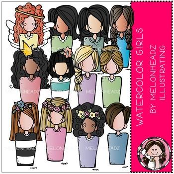 Melonheadz: Watercolor Girls clip art - COMBO PACK