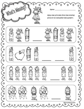 """""""What's Missing?"""" Alphabet, numbers and pattern worksheets"""