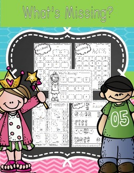 """What's Missing?"" Alphabet, numbers and pattern worksheets"