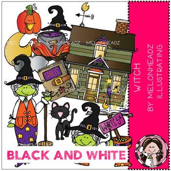 Melonheadz: Witch clip art - BLACK AND WHITE