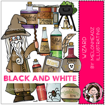 Wizard clip art - BLACK AND WHITE - by Melonheadz