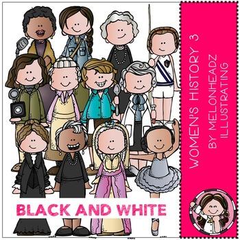 Women's History clip art - Set 3 - BLACK AND WHITE - by Melonheadz