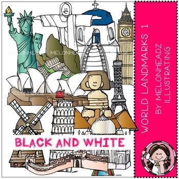 World Landmarks clip art - Set 1 - BLACK AND WHITE - by Melonheadz