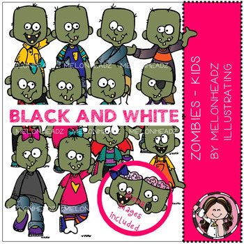 Zombies clip art - Kids - BLACK AND WHITE - by Melonheadz