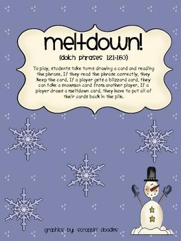 Meltdown Phrase Game (Dolch Phrases 121-150)