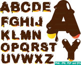 Melted Chocolate Alphabet clip art dark food Choco Sweet Cake letters print -169