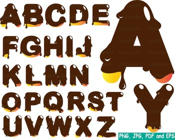 Melted Chocolate Alphabet clip art dark food Choco Sweet C