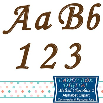Melted Chocolate Brown Cursive Clip Art Alphabet
