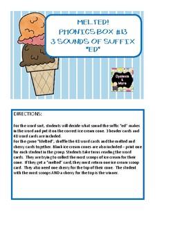 """Melted - Phonics Box #13 - Suffix """"ed"""""""
