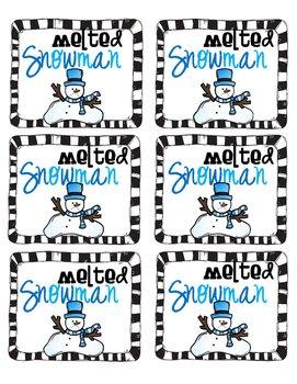 Melted Snowman Labels